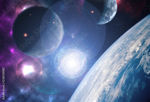 Deurstickers Nasa creative planets float on open space near the earth orbit ib galaxy. Elements of this image furnished by NASA f