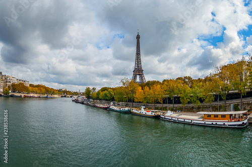 Fototapety, obrazy: PARIS, FRANCE, on OCTOBER 23, 2018. View of the Seine River, embankment and Eiffel Tower (fr. tour Eiffel)