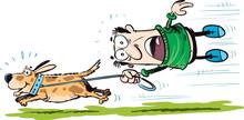 Funny Cartoon Man Walking The Dog