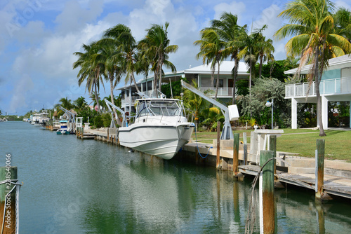 Fotografia, Obraz Home mooring at Marathon at the Florida Keys in Florida.