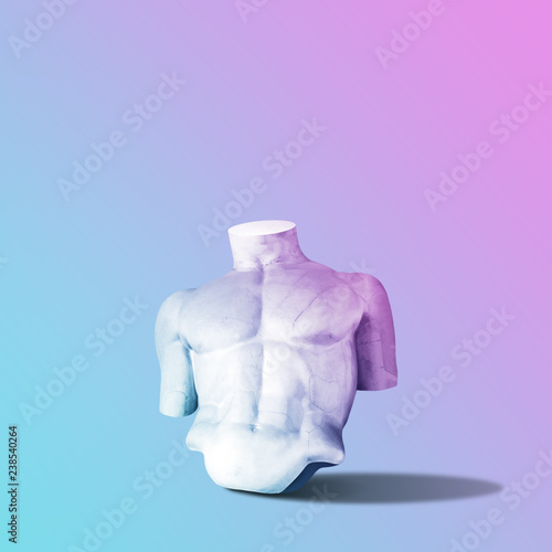 Body of statue in bold pink and blue neon colors on gradient background. Minimal art fantasy concept. Wall mural