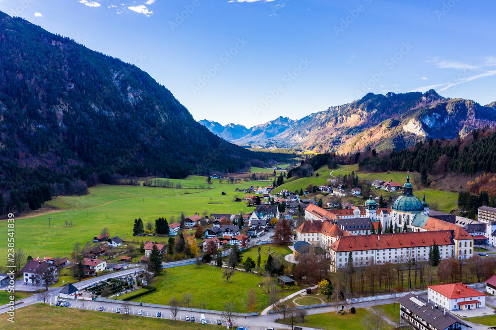 Fototapety, obrazy: Aerial view, Benedictine abbey Ettal monastery, Ettal, Oberammergau, Bavaria, Germany
