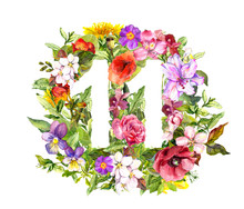Floral Number 11 Eleven From Wild Flowers And Herb. Watercolor