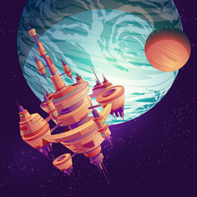 Future Deep Space Exploration Cartoon Vector With Intergalactic Space Station, Colony Or Metropolis Flying On Earth Or Exoplanet Orbit Illustration. Futuristic Extraterrestrial Starship Among Stars