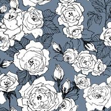 Seamless Pattern Of Wild Roses Blossom Branch Isolated On Blue. Vintage Botanical Hand Drawn Illustration. Spring Flowers Of Garden Rose, Dog Rose. Vector Design