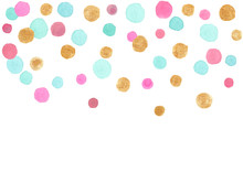Blue, Pink And Gold Falling Confetti Border. Illustration Painted In Watercolor On Clean White Background