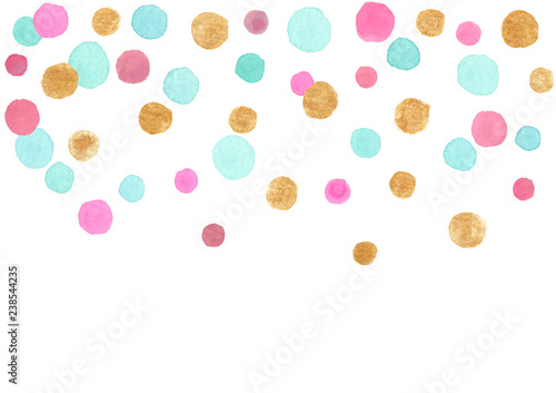 Fotografia, Obraz  Blue, pink and gold falling confetti border