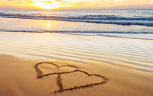 Love, Heart On Sea Beach