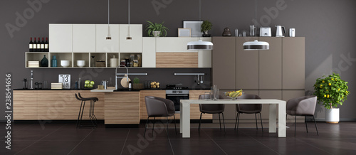 Foto  Modern brown and white kitchen with dining table