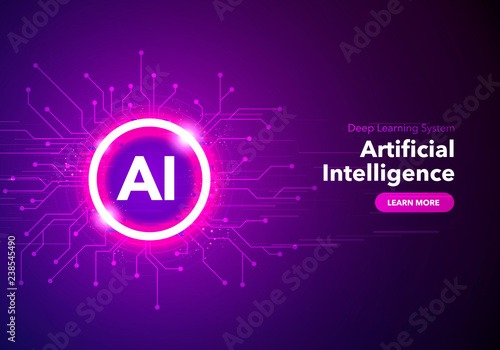 Obraz Vector Illustration artificial Intelligence landing page. Website template for ai machine deep learning technology sci-fi concept. - fototapety do salonu