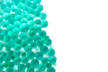Abstract Background With Green Hydrogel Balls With Copy Space