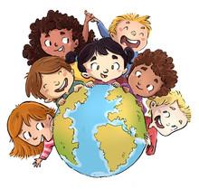 Niños Con Planeta Tierra