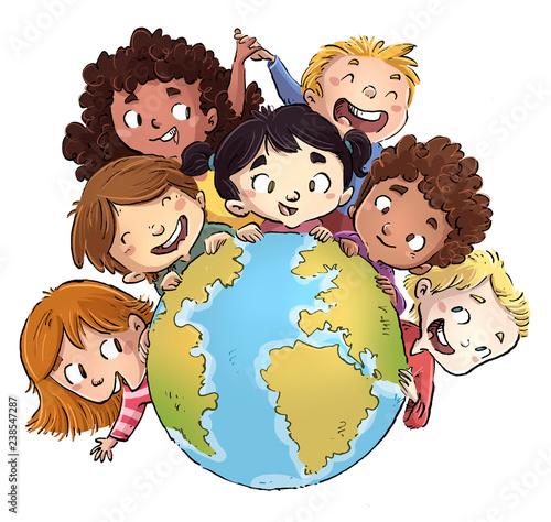 Obraz niños con planeta tierra - fototapety do salonu
