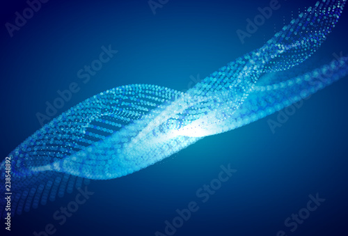 Cadres-photo bureau Abstract wave Abstract blue digital landscape with flowing particles. Cyber or technology background.
