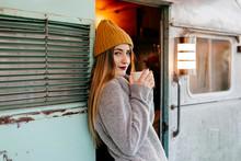 Sensual Lady In Caravan Doorway With Mug