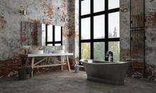 Dark, Industrial Brick Apartment Bathroom And Tub