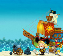 Cartoon Scene Of Beach Near The Sea Or Ocean - Pirate Captain Woman On The Shore With Cannon And Treasure Chest - Pirate Ship - Illustration For Children
