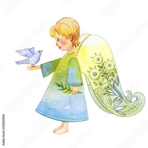 Leinwand Poster Little Angel. Silent night. Watercolor illustration