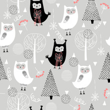 Seamless Pattern With Cute Funny Owls In The Forest. Scandinavian Style, For Printing. Hand-drawn.