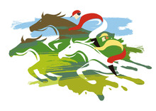 Horse Racing, Three Horses Full Speed.  Expressive Colorful Illustration Of Horse Racing. Isolated On White Background. Vector Available.
