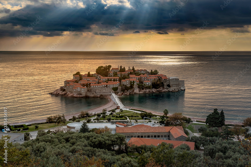Fototapety, obrazy: St Stefan Island  in the sunset in Budva, Montenegro