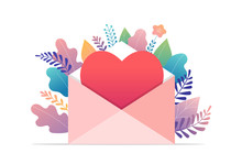 Happy Valentines Day, Love Letter Concept. Big Envelope With Red Heart, Romantic Background, Banner Design