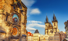 Scenic View On Tyn Church And Old Town Hall Tower In Prague, Czech Republic. Beautiful Travel Background.