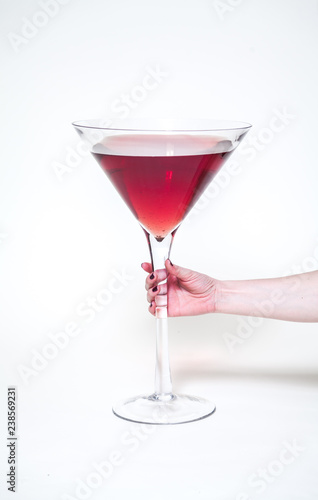 Poster Cocktail Female hand holding huge glass of wine