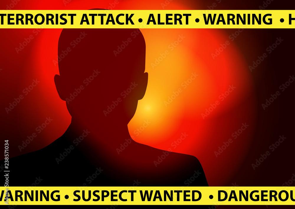 Fototapeta Terrorist Attack Alert - Suspect wanted concept