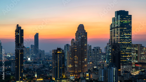Poster London Night of the Metropolitan Bangkok City downtown cityscape urban skyline tower Thailand - Cityscape Bangkok city Thailand