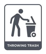 Throwing Trash Icon Vector
