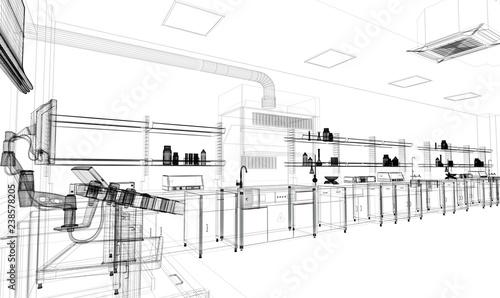 Valokuvatapetti Interno architettonico, laboratorio di analisi biochimiche con attrezzature senz