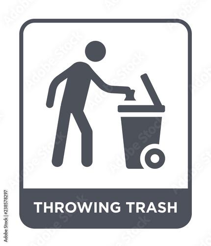 Photo throwing trash icon vector