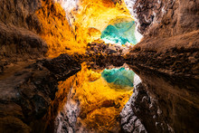 Water Optical Illusion Reflection In Cueva De Los Verdes, An Amazing Lava Tube And Tourist Attraction On Lanzarote Island, Spain.