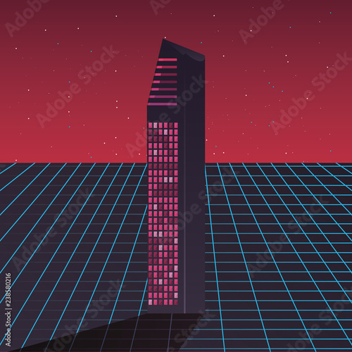 Fotomural futurist building digital innovation background