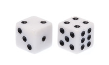 White Dice Isolated On A White...