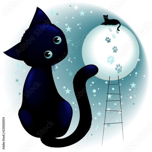 Spoed Foto op Canvas Draw Blue Kitty Dream on the Moon