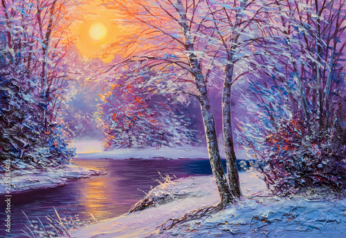 Foto op Canvas Snoeien Christmas forest with river