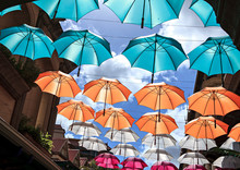Street Covered By Umbrellas