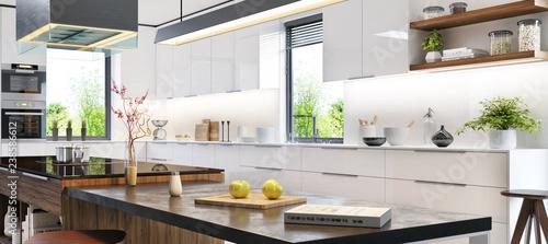 Fototapeta Luxurious interior of white modern kitchen obraz