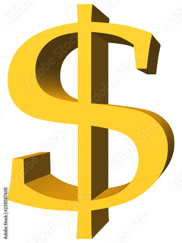 Fotografie, Obraz  A simple 3d gold colored dollar sign.