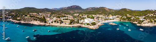 Poster Bleu Aerial view, Spain, Balearic Islands, Mallorca, Calvia region, Costa de la Calma, view of Camp de Mar with hotels and beaches