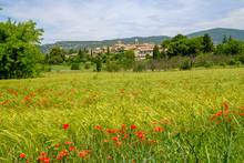 Vue Panoramique Sur Le Village De Lourmarin En Provence, France. Champ De Blé Avec Des Coquelicots Au Premier Plan.