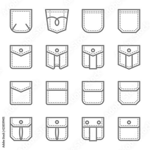 Fotografía Patch Pocket Style Vector Line Icon Set