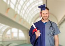 Split Screen Of Caucasian Male As Graduate And Nurse On Campus Or At Hospital