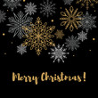 Square Merry Christmas and Happy New Year greeting card with beautiful golden and white snowflakes on black background. Christmas design for banners, posters, massages, announcements. Space for text