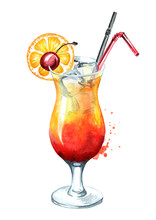 Tequila Sunrise Cocktail With Cherry, Orange And Ice Cubes. Watercolor Hand Drawn Illustration,  Isolated On White Background