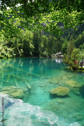 Cadres-photo bureau Bestsellers Blausee lake in Alps, Switzerland. The lake was formed by melting Glacier.