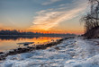Frosty March dawn on the banks of the Neva river in St. Petersburg.