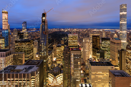 Photo  New York City skyline with urban skyscrapers at night